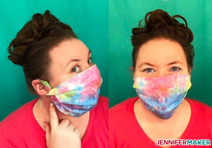 No-sew face mask made from 100% woven cotton and twisted at the ears