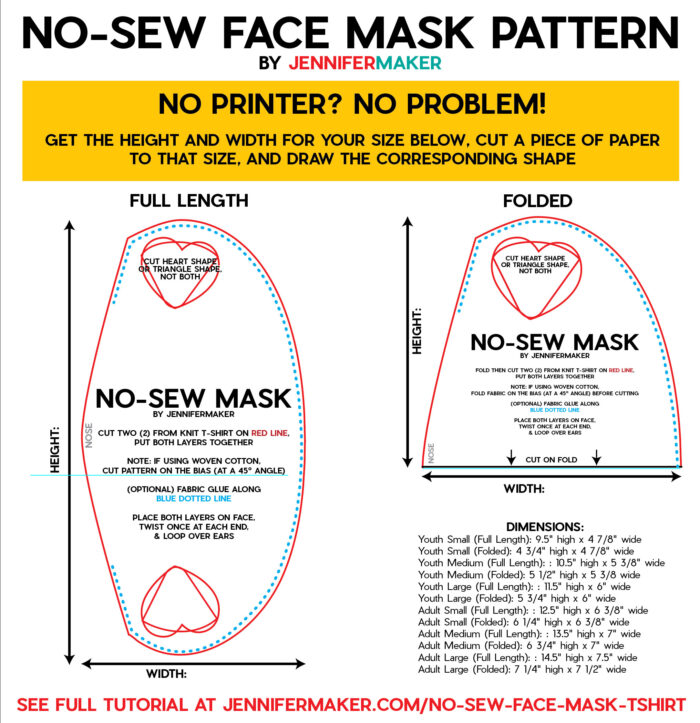 Simple No-Sew Face Mask Pattern with dimensions to draw on paper (no printer needed)