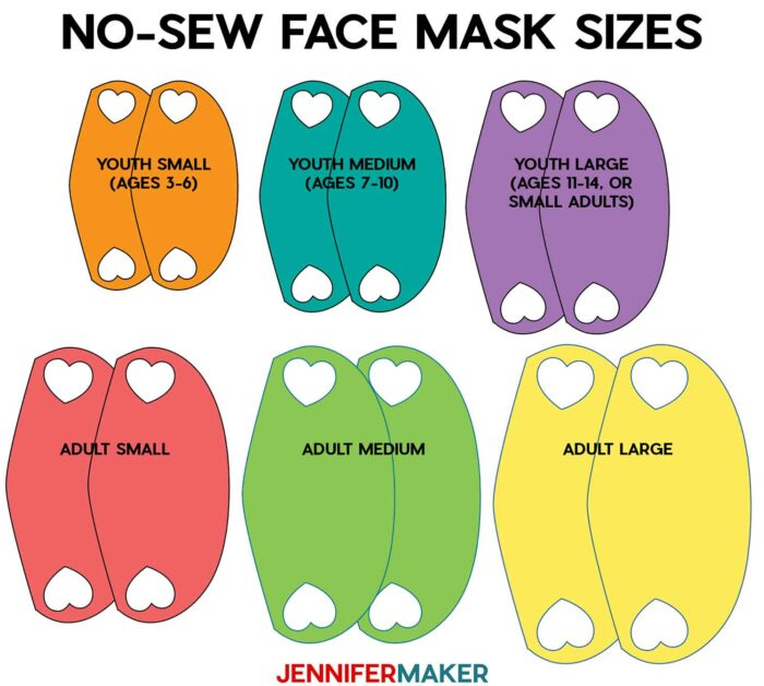 Six sizes for the no-sew face mask by JenniferMaker