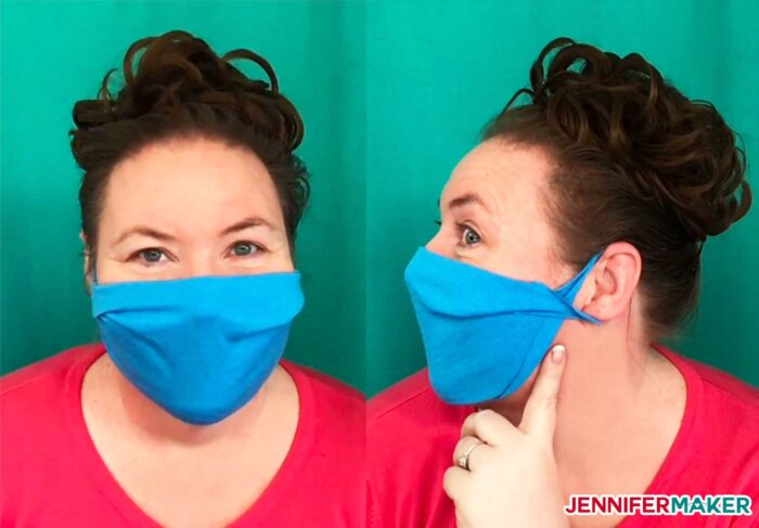 No-sew face mask made from a T-shirt in blue 100% cotton and twisted at the ears