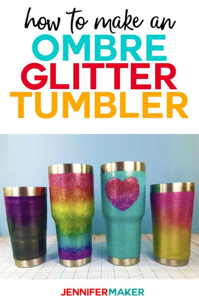 Learn two easy ways to create perfectly blended ombre or rainbow glitter tumblers with this step-by-step tutorial.  #diy #tutorial #craftprojects