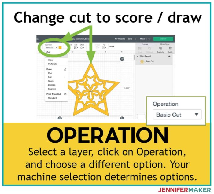 Use Operation when you need to change a layer's linetype from Basic Cut to Score or Draw