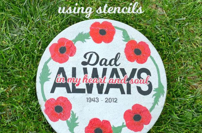Paint a Concrete Stepping Stone Using Stencils - DIY Memorial Stepping Stone with Spray Paints and Stencils #cricut #spraypaint #garden #memorial