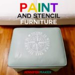 How to Paint Upholstered Furniture and Stencil it with a free home design #cricut #furniture #diyhomedecor #svgcutfile #coastal
