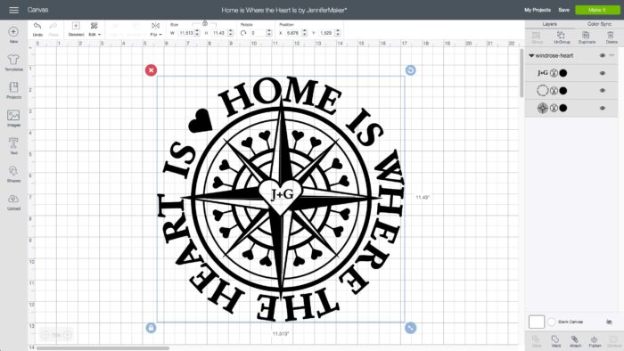 Home is Where the Heart Is Windrose Design - Free SVG Cut File for Painting Upholstered Furniture and Stenciling It, too!