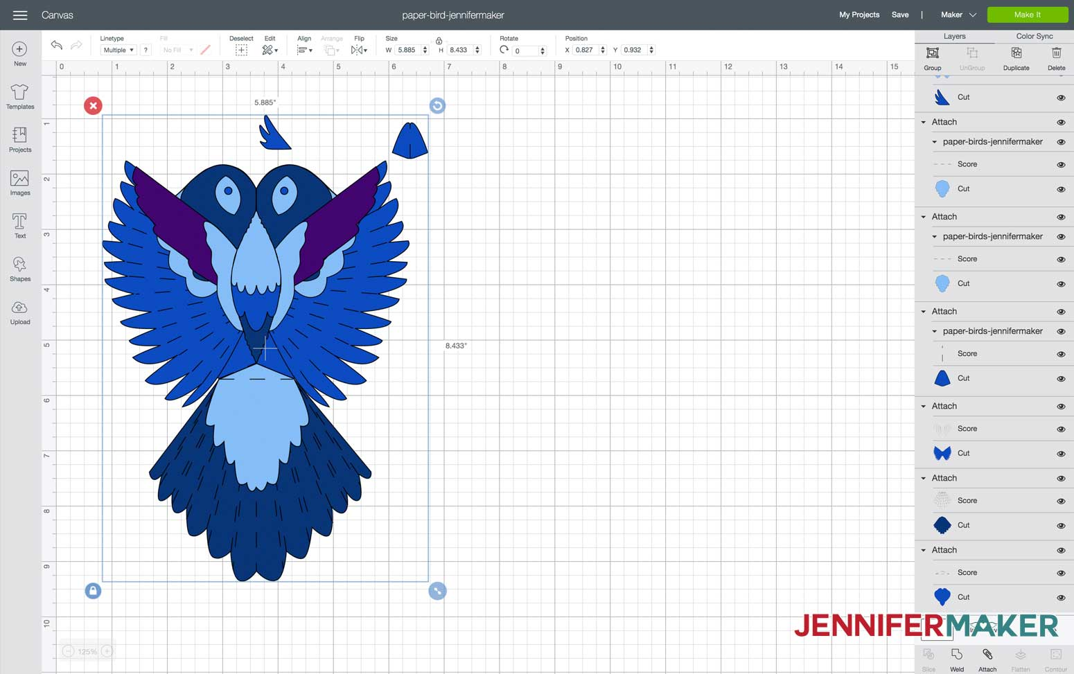 Import and set up SVG paper bird file in Design Space