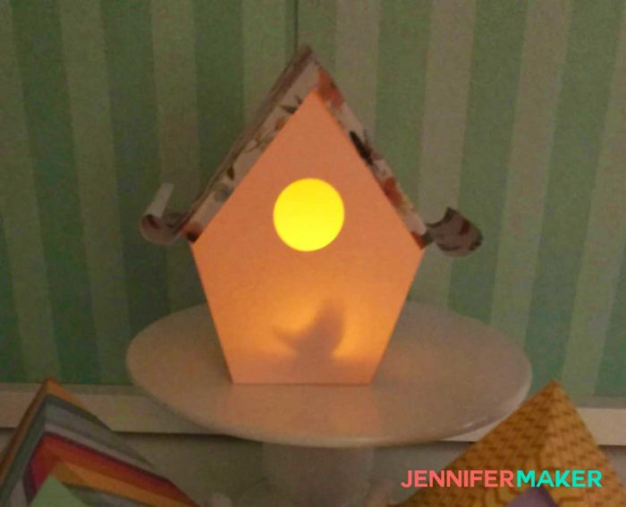 Paper Birdhouse Luminary with a Hidden Surprise Inside | Free tutorial and SVG files | #papercraft #birdhouse #cricut