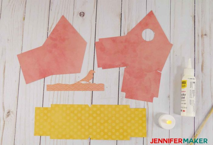 Materials to make the Make paper birdhouse template patterns | birdhouse craft