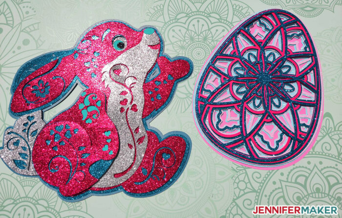 Glitter cardstock paper bunny in pinks and blues