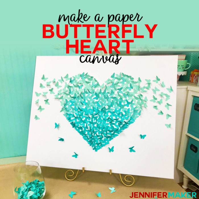 Make a Paper Butterfly Heart Canvas Wall Art with Free SVG Cut Files #cricut #cricutmade #svgcutfile #diy #homedecor