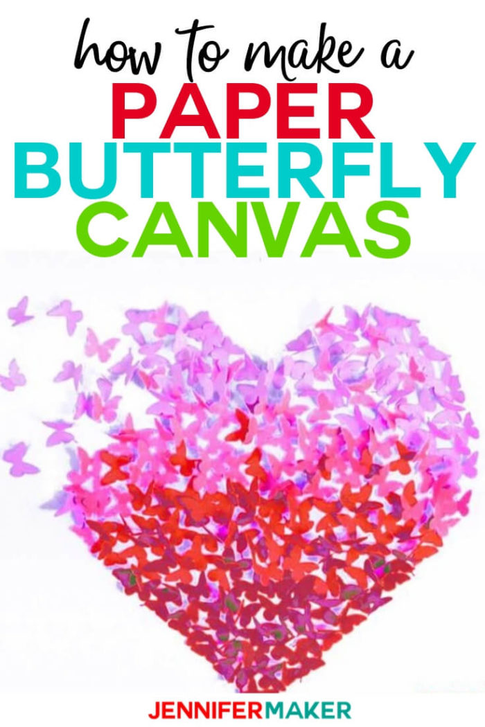Learn how to make an EASY paper butterfly heart canvas or wall art, complete with four free butterfly patterns for you to use!  #cricut #cricutmade #cricutmaker #cricutexplore #svg #svgfile