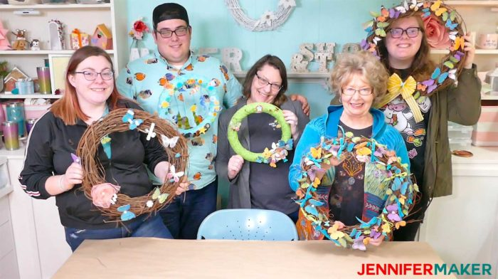 Jennfier's family with their paper butterfly wreaths!