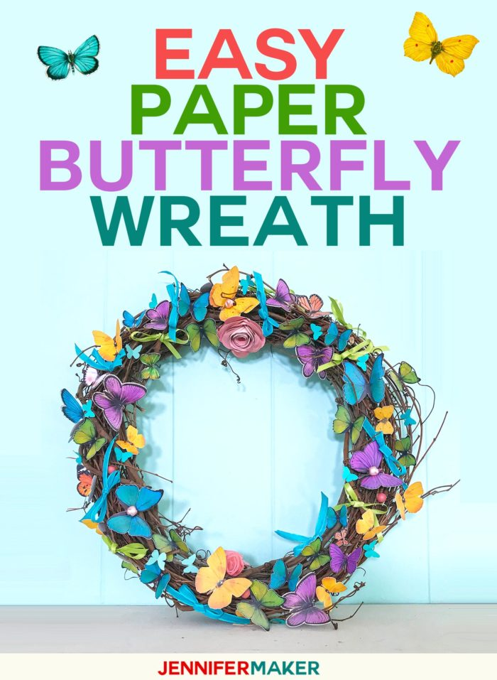 DIY Paper Butterfly Wreath Tutorial - Easy & Pretty Home Decor for Spring and Summer #cricut #cricutmade #papercraft #butterflies #wreaths