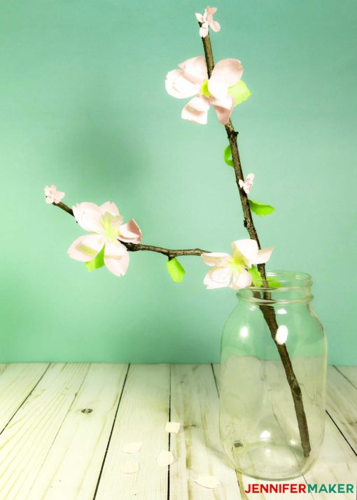 Make paper cherry blossom flowers for spring jennifer maker crepe paper cherry blossom flowers on a branch mightylinksfo