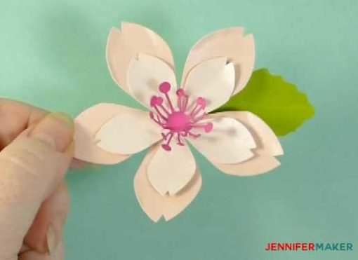 Make paper cherry blossom flowers for spring jennifer maker glue a leaf under the petals to finish off your paper cherry blosssom flower mightylinksfo