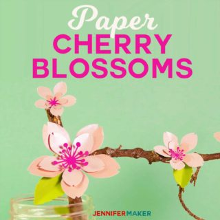 How to Make Paper Cherry Blossom Flowers with a free pattern and tutorial #papercraft #paperflowers