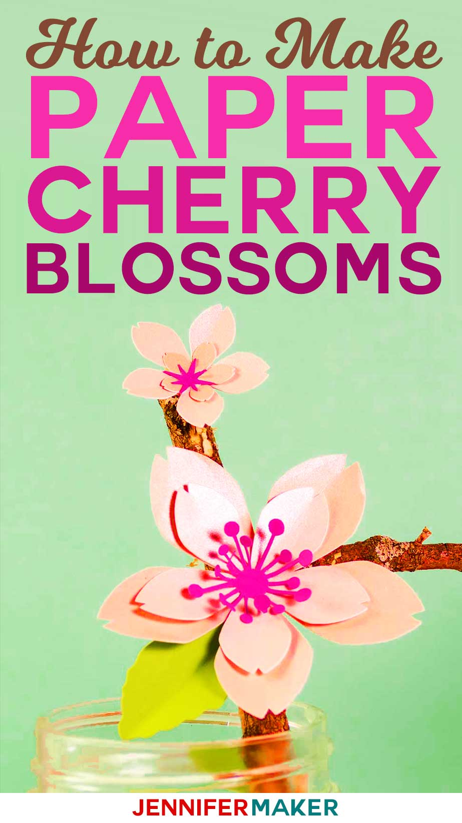 How to Make Paper Cherry Blossom Flowers with a free pattern, SVG cut file, and tutorial #papercraft #paperflowers #cricut