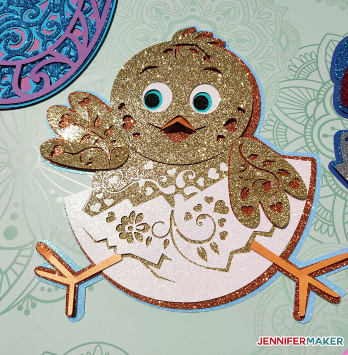 Glittery golden spring chick made from cardstock