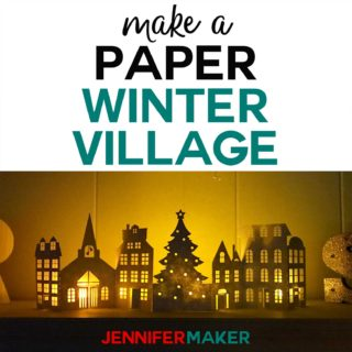 Make a Paper Christmas Village & Houses with this free pattern and SVG cut file for the Cricut! #christmas #papercraft #cricut #luminary
