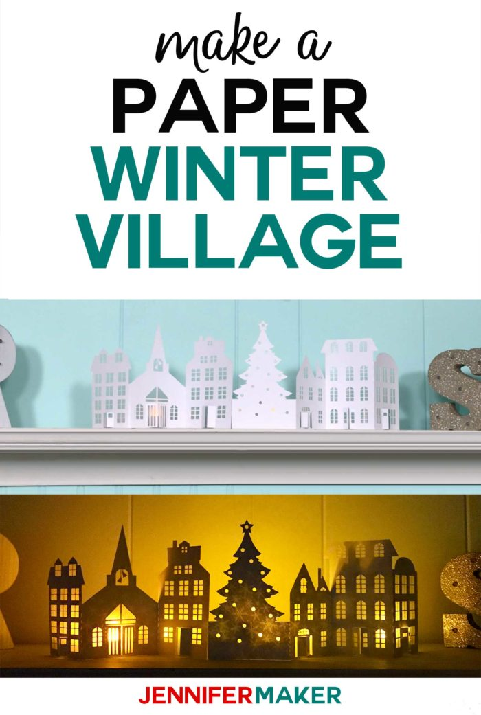 Make a Paper Christmas Village & Houses with this free pattern and SVG cut file for the Cricut! #christmas #papercraft #cricut #luminary #svgcutfile