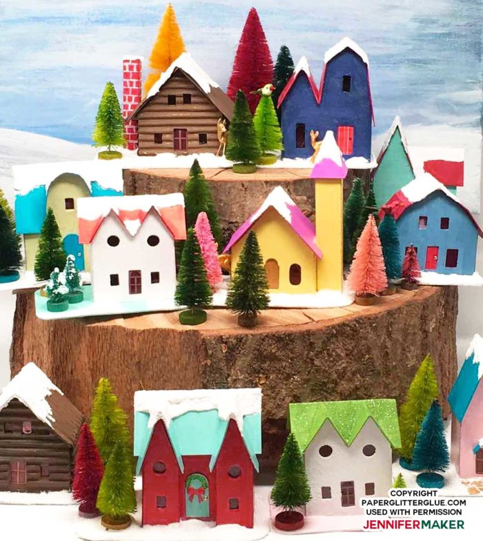 Christmas putz houses form a paper Christmas village with designs from PaperGlitterGlue.com