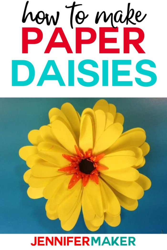 This Paper Daisy is easy to make with a full tutorial and SVG cut files. Use these flowers to decorate your home or make a wreath to celebrate summer.  #cricut #cricutmade #cricutmaker #cricutexplore #svg #svgfile