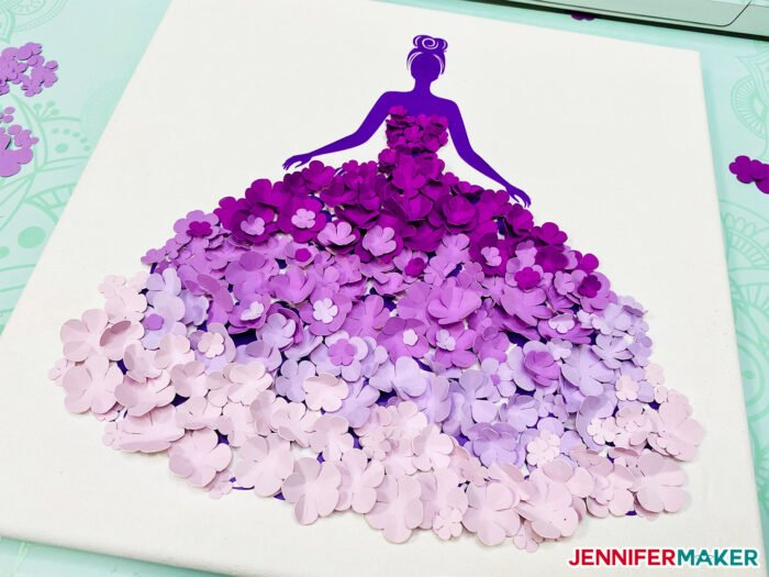 Easy Paper Flower Dress in purple vinyl and lavender paper flowers on a white canvas