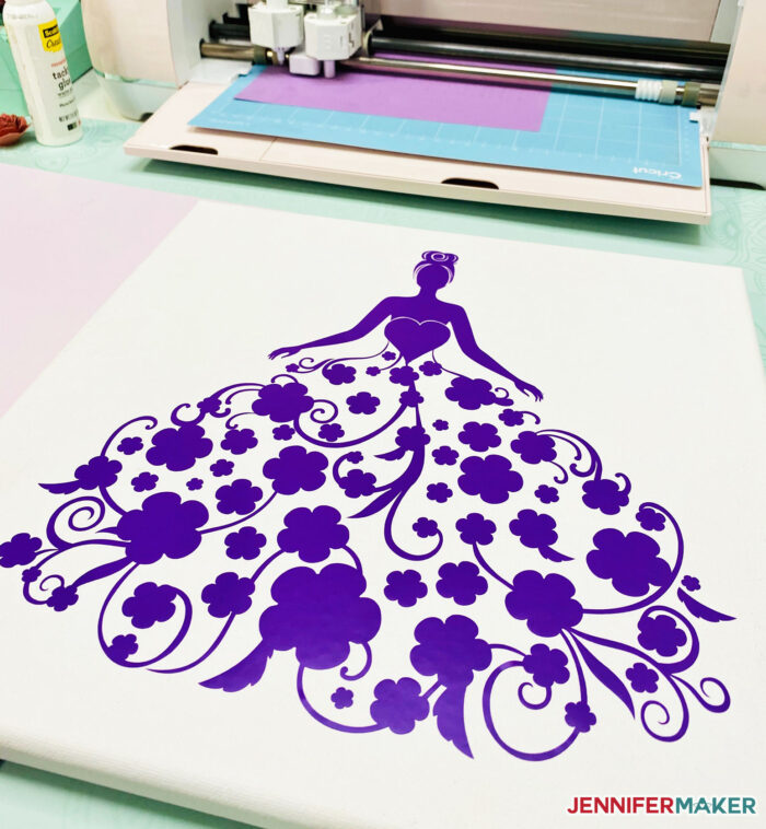 Easy Paper Flower Dress in purple vinyl on a white canvas