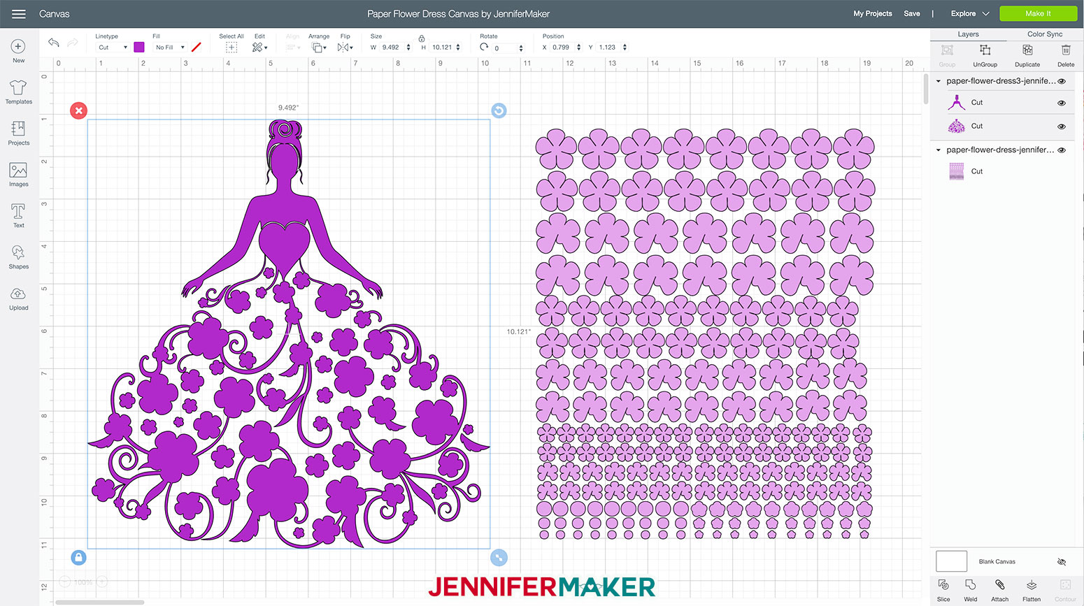 Flower girl SVG cut file and simple paper flowers uploaded to Cricut Design Space