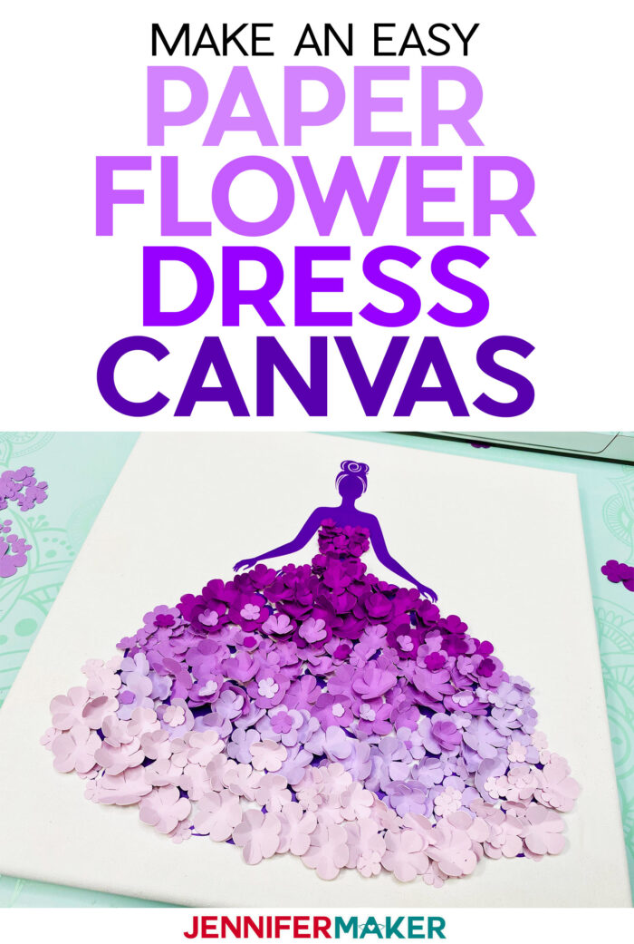 Easy Paper Flower Dress Canvas Tutorial with free SVG cut file and paper flower templates #cricut #paperflowers