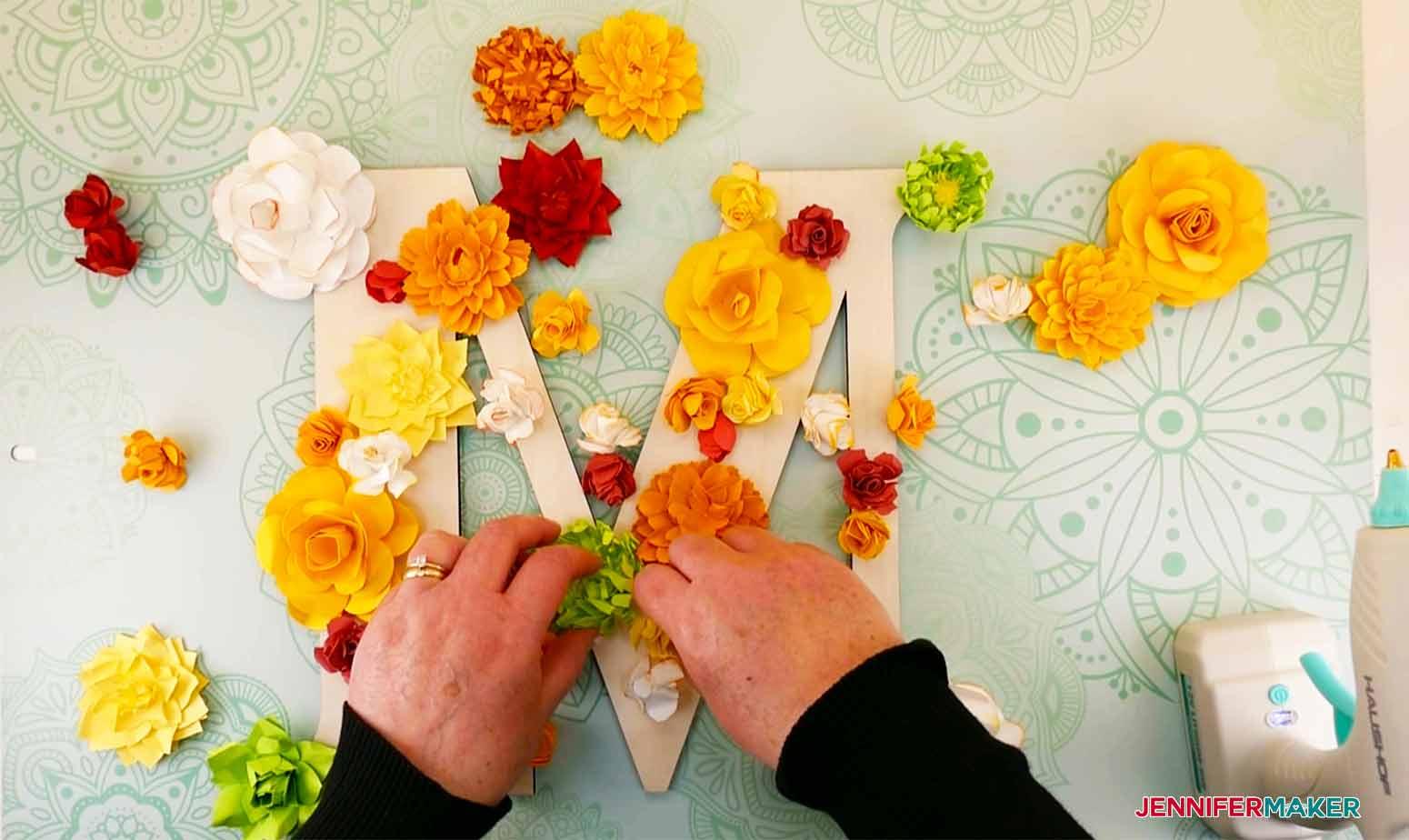 Arrangement of paper flowers on letter for my paper flower letter