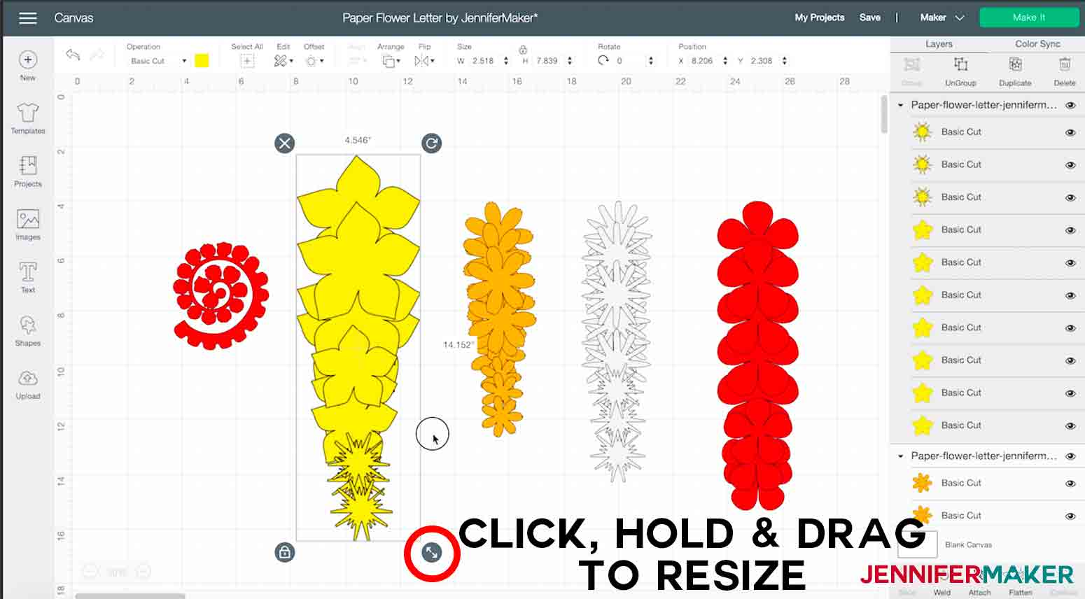 arrow pointing to arrows where you click hold and drag to resize paper flower letter