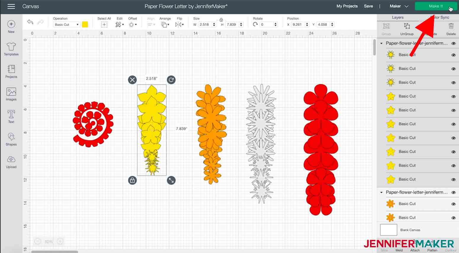 arrow pointing to make it button in cricut design space paper flower letter project