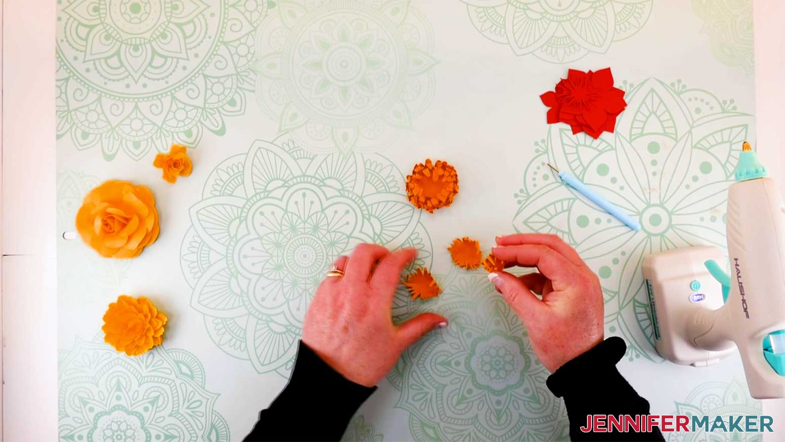 shape and glue the center of the mum for my layered flower letter