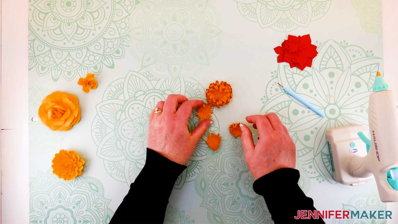 Gluing mum layers for my paper flower letter