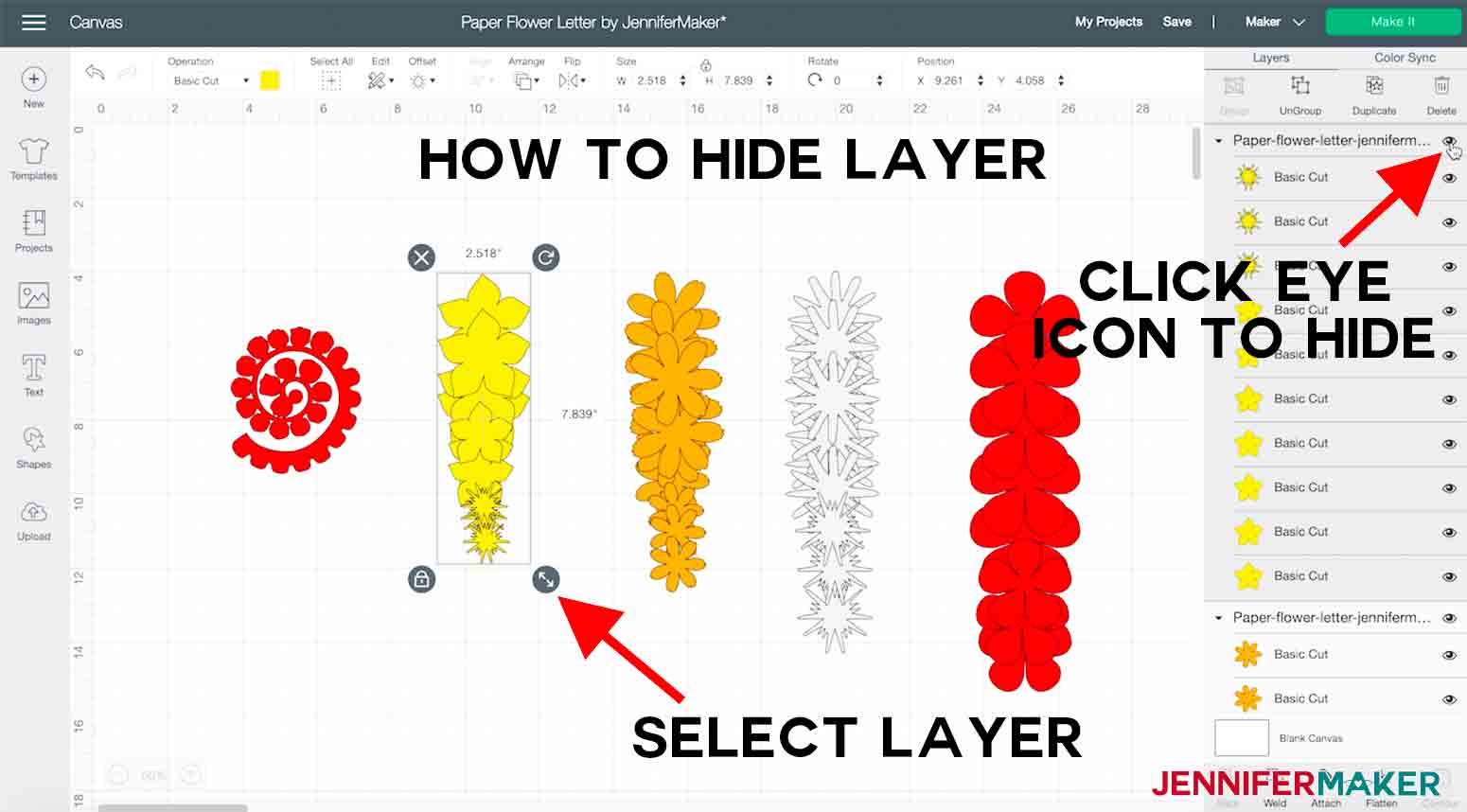 arrow and text explaining how to hide a layer in cricut design space paper flower letter project
