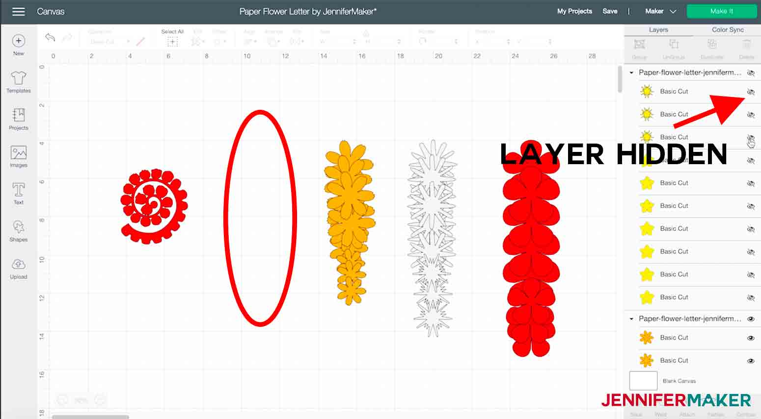 shows hidden layer in cricut design space paper flower letter project