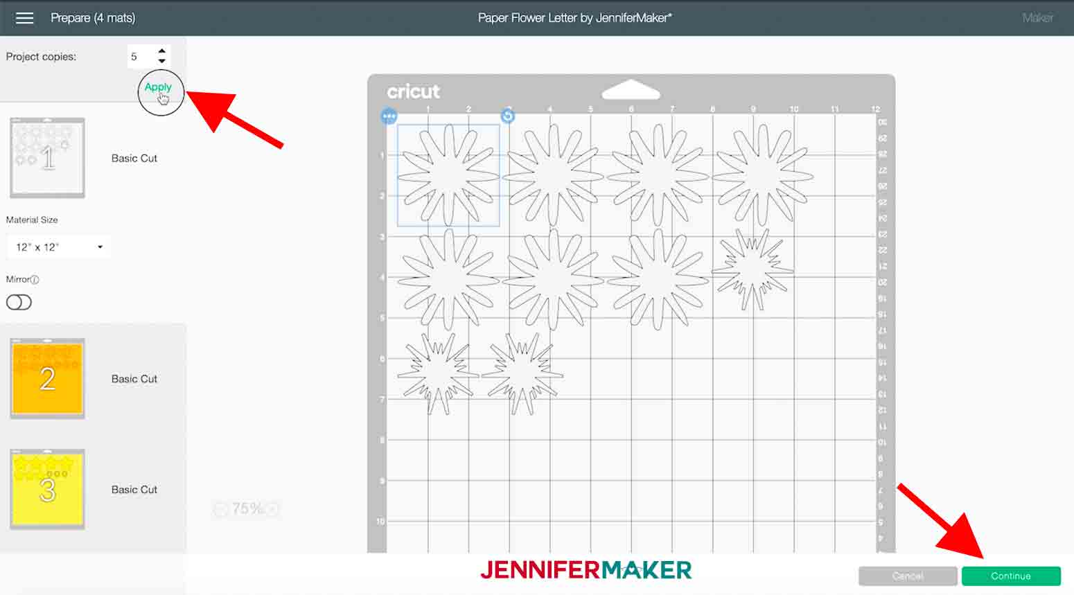 arrow points to project copies and continue button in cricut design space paper flower letter project