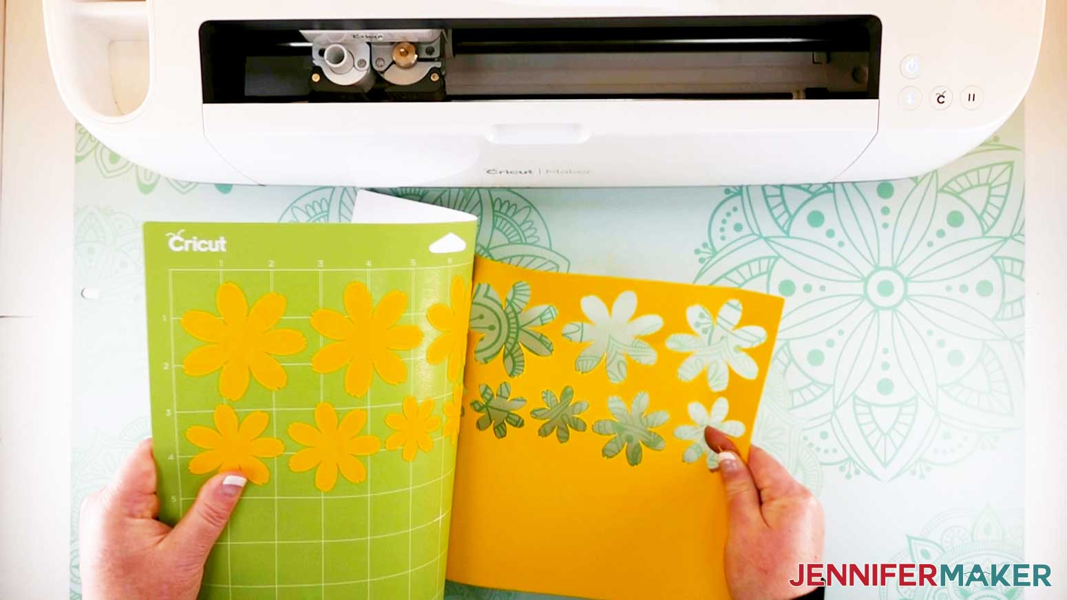 peeling cardstock off mat for paper flower letter project