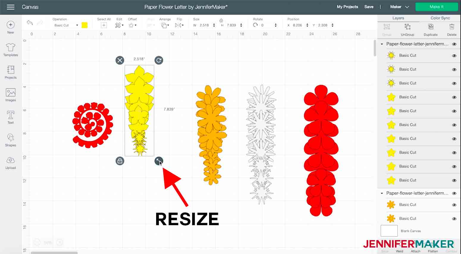 arrow pointing to resize handle in the Cricut Design Space for Paper flower letter