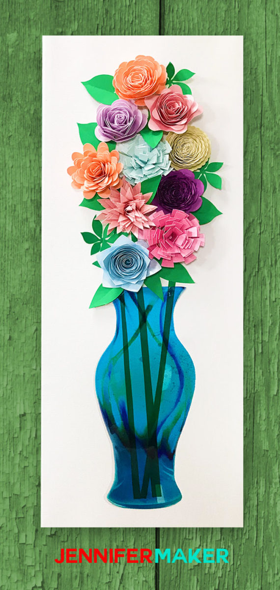Paper Flower Wall Art - Paper Flowers in an Art Glass Vase - Free SVG Cut File!