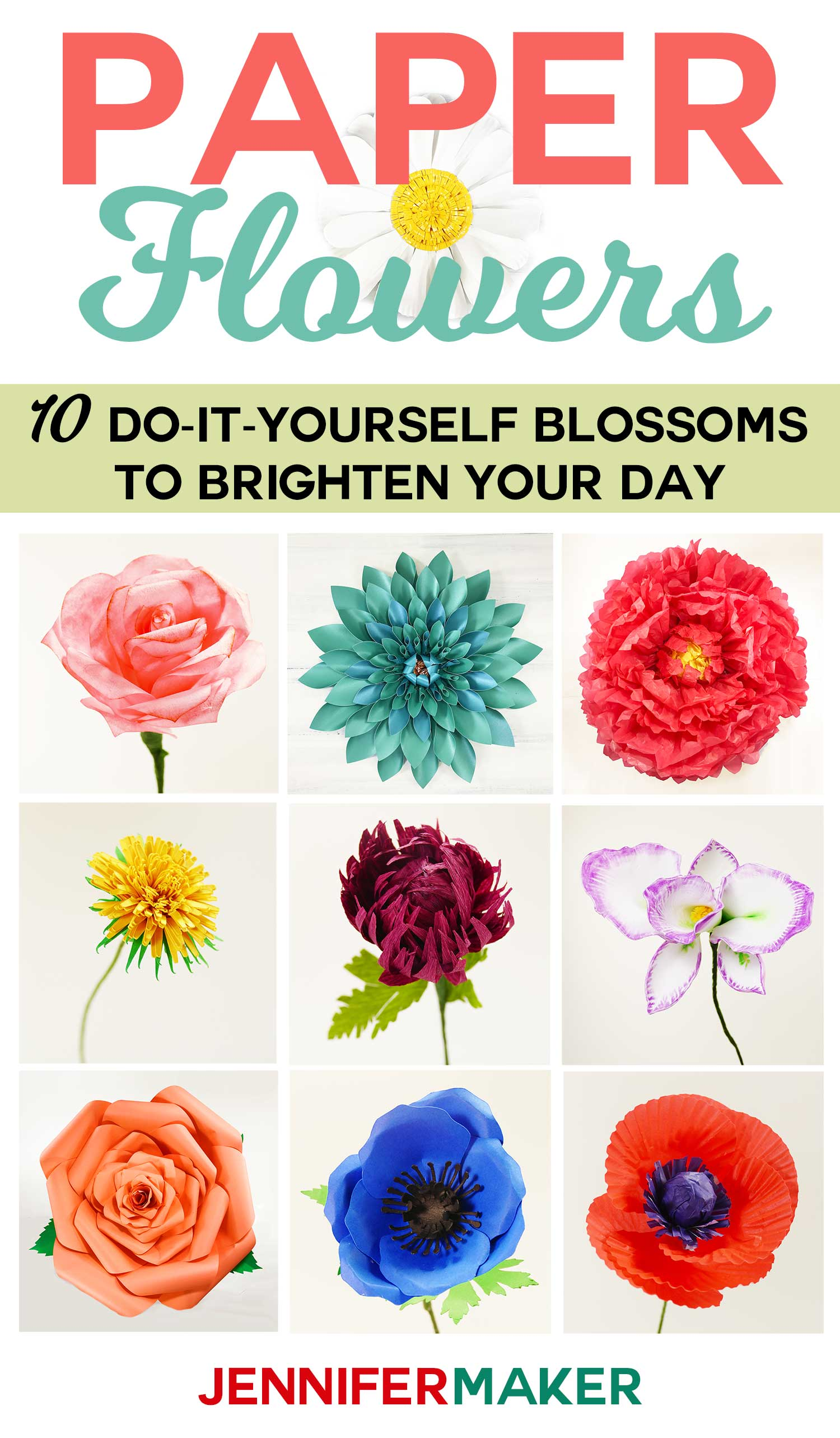 Paper Flowers Book: 10 Do-It-Yourself Blossoms to Bright Your Day by Jennifer Maker | #paperflowers #diy #papercrafts