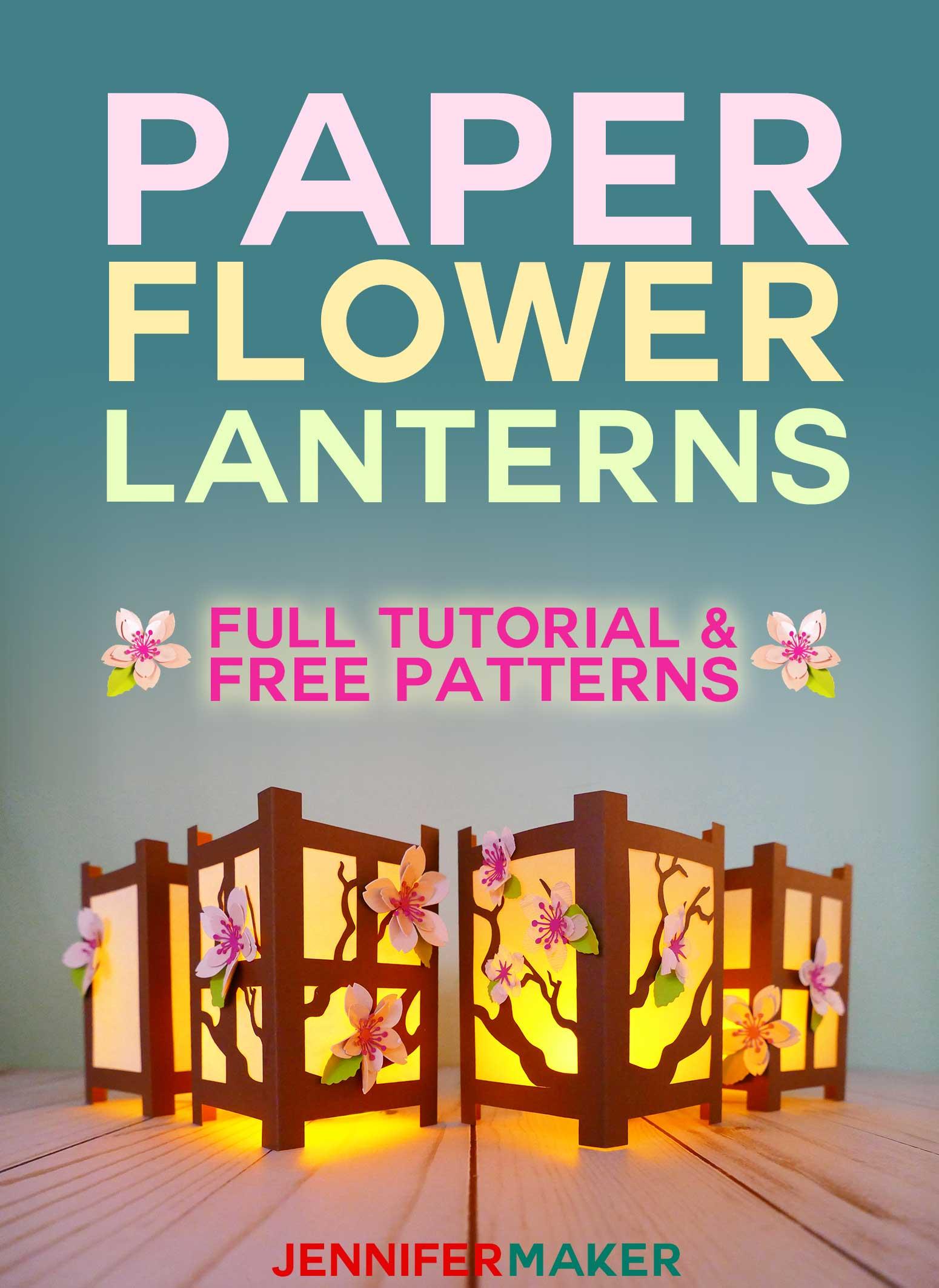 Paper Flower Lanterns designed after a Japanese shoji rice paper screen   Free svg cut files and pattern #paperflowers #lanterns #cricut