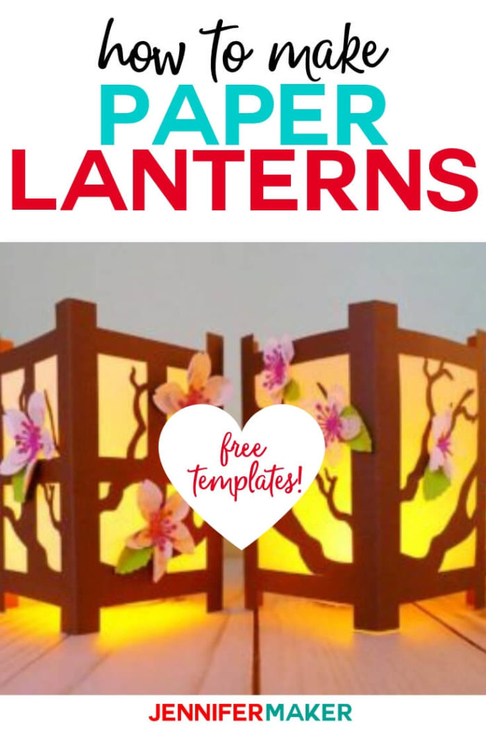 Learn how to make these Paper Lanterns inspired by the Japenese shoji rice paper screen with a step by step tutorial and free cut files. #cricut #cricutmade #cricutmaker #cricutexplore #svg #svgfile