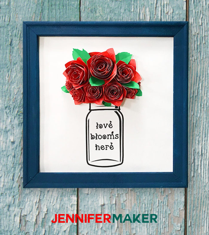 Paper Flower Wall Art - Paper Flowers in a Mason Jar - Free SVG Cut File!