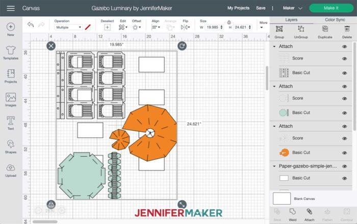 Paper Gazebo svg cut file uploaded to Cricut Design Space