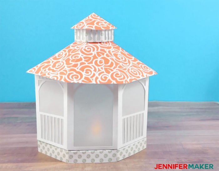The finished paper gazebo luminary with LED tealights