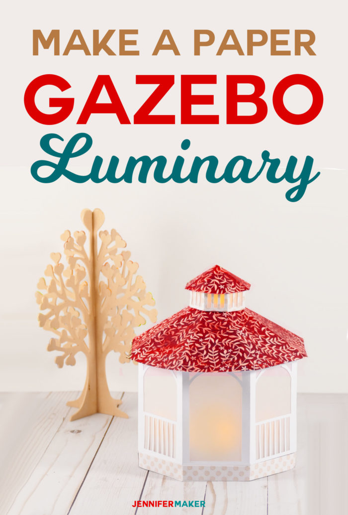 Make this papercraft and create a pretty paper gazebo -- an LED tealight turns it into a luminary for weddings and gifts #papercrafts #cricut #svgfiles #gazebo
