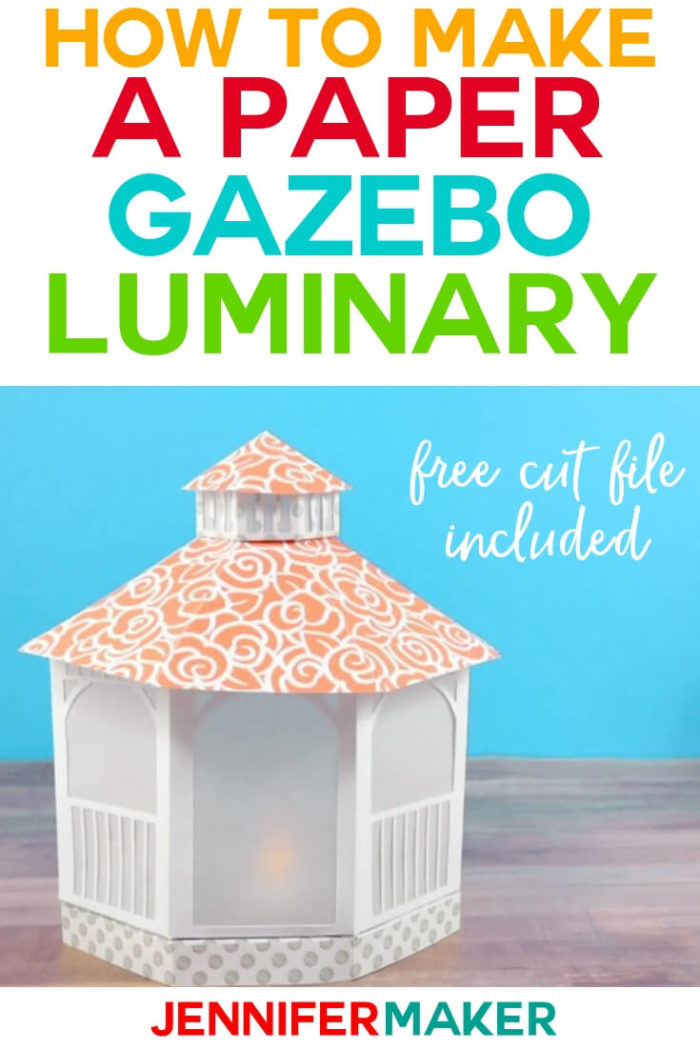 This paper gazebo luminary is such a fun, summery paper project that could be used in a variety of settings. You can dress it up for a special occasion like a wedding or theme to it to a specific holiday like 4th of July. This step-by-step tutorial even has a free SVG cut file so you can make your own!  #cricut #cricutmade #cricutmaker #cricutexplore #svg #svgfile