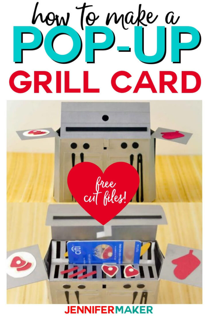 Make a pop-up grill card with gift card holder for dad this Father's Day! Free svg cut files and tutorial are included. #papercrafts #papercrafting #svg #svgfile